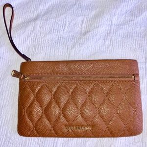 Vera Bradley Leather Quilted Mia Wristlet in Brown